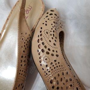 me too Shoes - Me Too Sling Back Perforated Peep Toe Heel Sandals